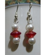 Red UFO (or Math Division) Dangle Earrings with faux pearls - $15.00