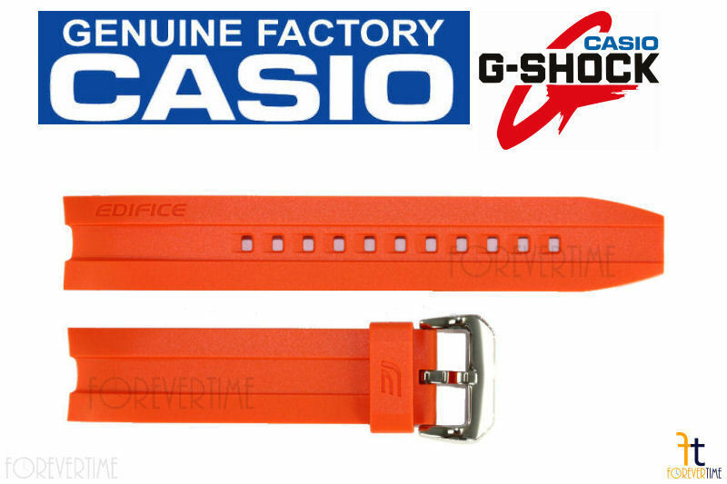 Primary image for Casio EMA-100B-1A4V Edifice Original 20mm Orange Rubber Watch Band Strap w/ Pins