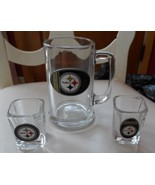 Pittsburgh Steelers glass mug and 2 shot glasses - $22.00
