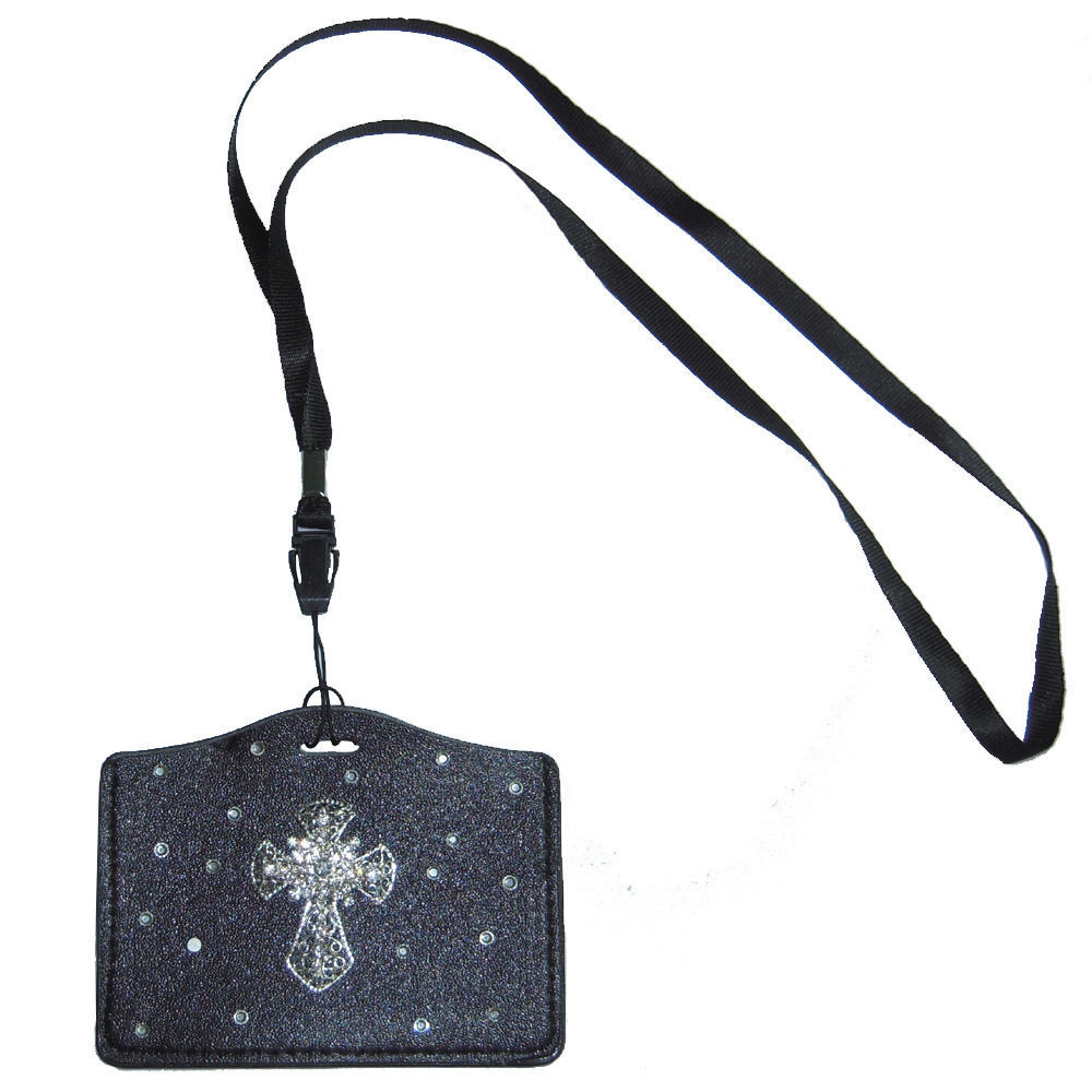 Primary image for Bling Crystal Cross ID Badge Card Holder Black PU Leather case + Neckstrap