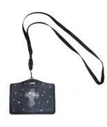 Bling Crystal Cross ID Badge Card Holder Black PU Leather case + Neckstrap - $8.81