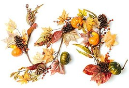 CraftMore Fall Oak Maple and Eucalyptus Garland with Pumpkins and Berries 6'