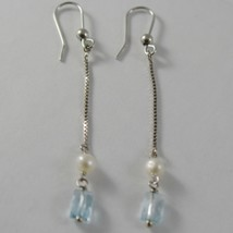 SOLID 18K WHITE GOLD PENDANT EARRINGS WITH BLUE TOPAZ AND PEARL MADE IN ITALY image 2