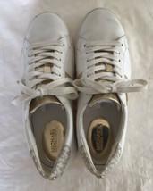 Michael Kors Irving Signature Stripe Lace Up Sneakers Sz 7.5 Optic White... - $48.02