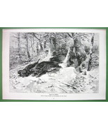 WILD BOARS Hunted in Winter Forest - VICTORIAN Antique Print - $16.87
