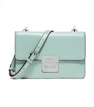 "NWT MICHAEL KORS LEATHER SLOAN ""CELADON"" SMALL FLAP GUSSETT CROSSBODY - £103.77 GBP"