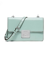 "NWT MICHAEL KORS LEATHER SLOAN ""CELADON"" SMALL FLAP GUSSETT CROSSBODY - £107.30 GBP"