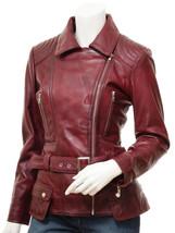 QASTAN Women's New Stylish Fashioned Burgundy Biker Leather Jacket QWJ42E image 2