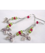 Christmas Holly Charm Cluster Earrings Silver Red and Green - $12.75