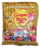 CHUPA CHUPS 12pc 5.08 oz Bag BEST OF Candy COLA+CREAMY+FRUIT Lollipops E... - $3.99