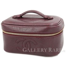 CHANEL Vanity Bag CC Logo Caviar Leather Bordeaux A01997 Italy Authentic... - $582.61
