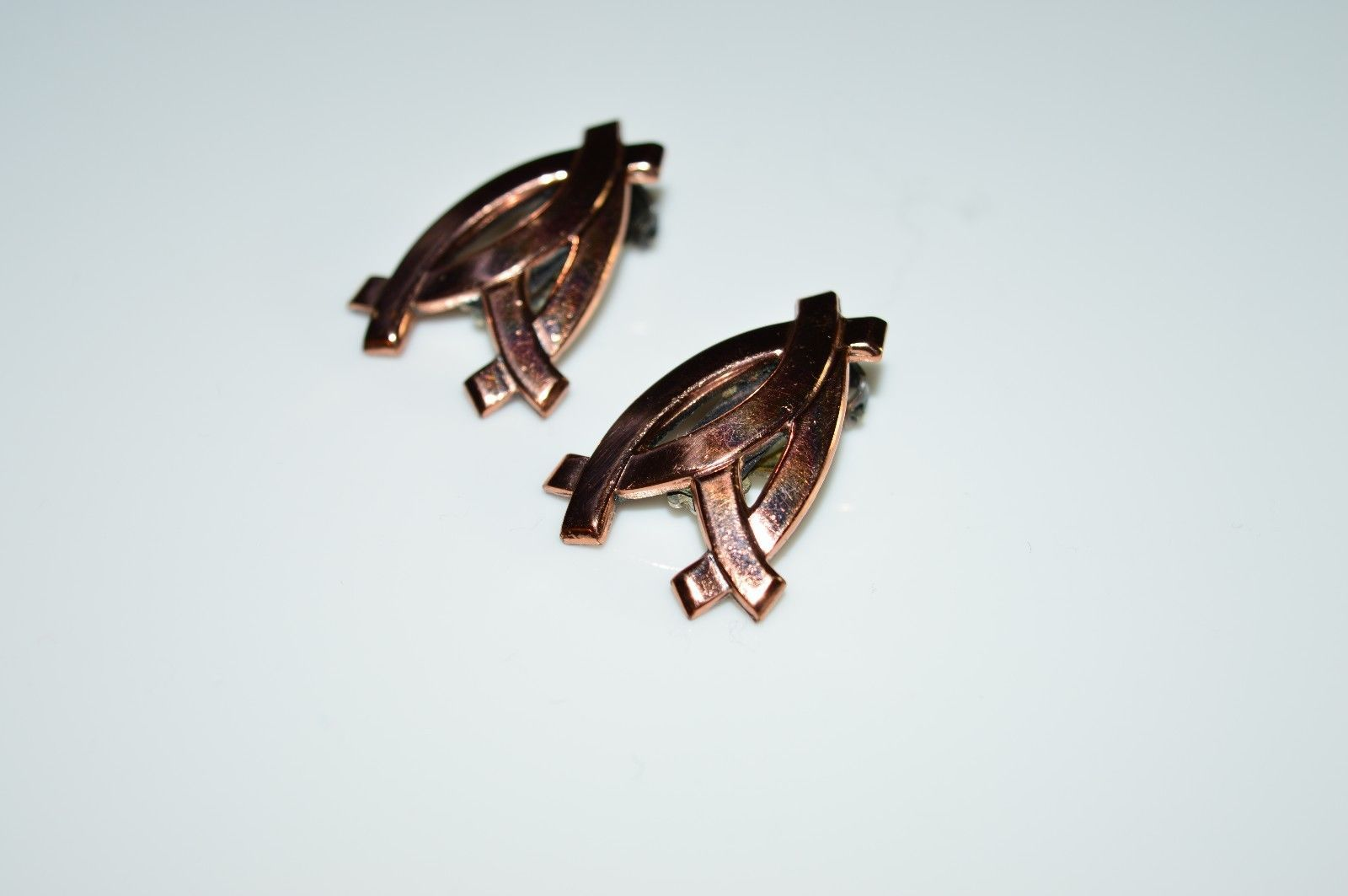 VTG Matisse RENOIR Signed RARE Openwork FAN Abstract Clip Earrings