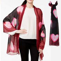 New STYLE CO Silky Chiffon Watercolor Hearts Print Scarf Womens Wrap - €7,16 EUR