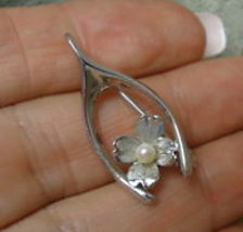WISHBONE Pin with small Pearl Dogwood Blossom in Sterling Silver - Harry... - $35.00