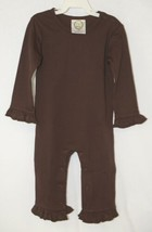 Blanks Boutique Long Sleeve Brown Snap Up Ruffled Romper 18 Months image 1