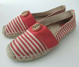 Tory Burch Beacher Espadrille Womens 8 Shoes Flats Striped Canvas Orange Stripe - $67.72