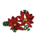Vintage Poinsettia Brooch Pin Red Green Unsigned - $12.86