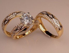Man's Women's Diamond 10k Yellow Gold Wedding Engagement Bands Trio Set 2.10 Ct  - $167.99
