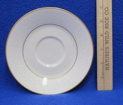 Noritake China Tulane 7562 Saucer Plate Ivory China White Scroll Gold Trim - $7.91