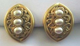 Vintage 1980's Brassy Gold and Faux Pearl Diva Clip Earrings - $15.79