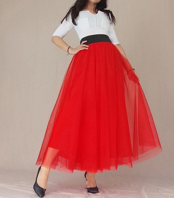 Red tutu skirt maxi pocket 8