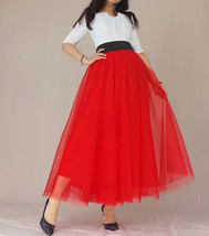 A Line RED Tulle Skirt with Pockets Women High Waist Tulle Skirt Red Party Skirt image 1