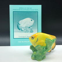 Franklin Mint Fish Figurine Porcelain Statue Jewel Of Sea Lemonpeel Angelfish - $29.65
