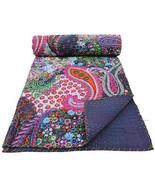 Handmade PAISLEY Kantha Quilt Indian Bedspread Throw Cotton Blanket Guda... - $37.04+