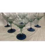 Set of 6 Cobalt Blue Foot Green Bowl Ribbed Ripple Martini Glasses Barwa... - $44.54