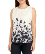 NWT TOMMY HILFIGER WHITE BLUE FLORAL COTTON  CAREER BLOUSE SIZE L  $59 - $23.74