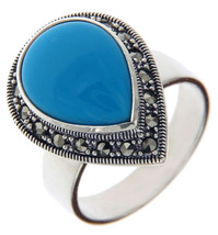925 Sterling Silver Teardrop TURQUOISE and MARCASITE Ring Size 9.5 »R322 - £33.14 GBP