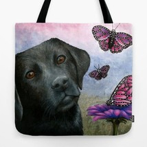 Tote bag All over print Dog 130 black labrador butterfly art painting by... - $26.99+