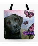 Tote bag All over print Dog 130 black labrador butterfly art painting by... - $29.99 - $35.99