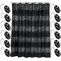 Popular Bath Sinatra Black 70 x 72 Bathroom Fabric Shower Curtain & Hook... - $39.59