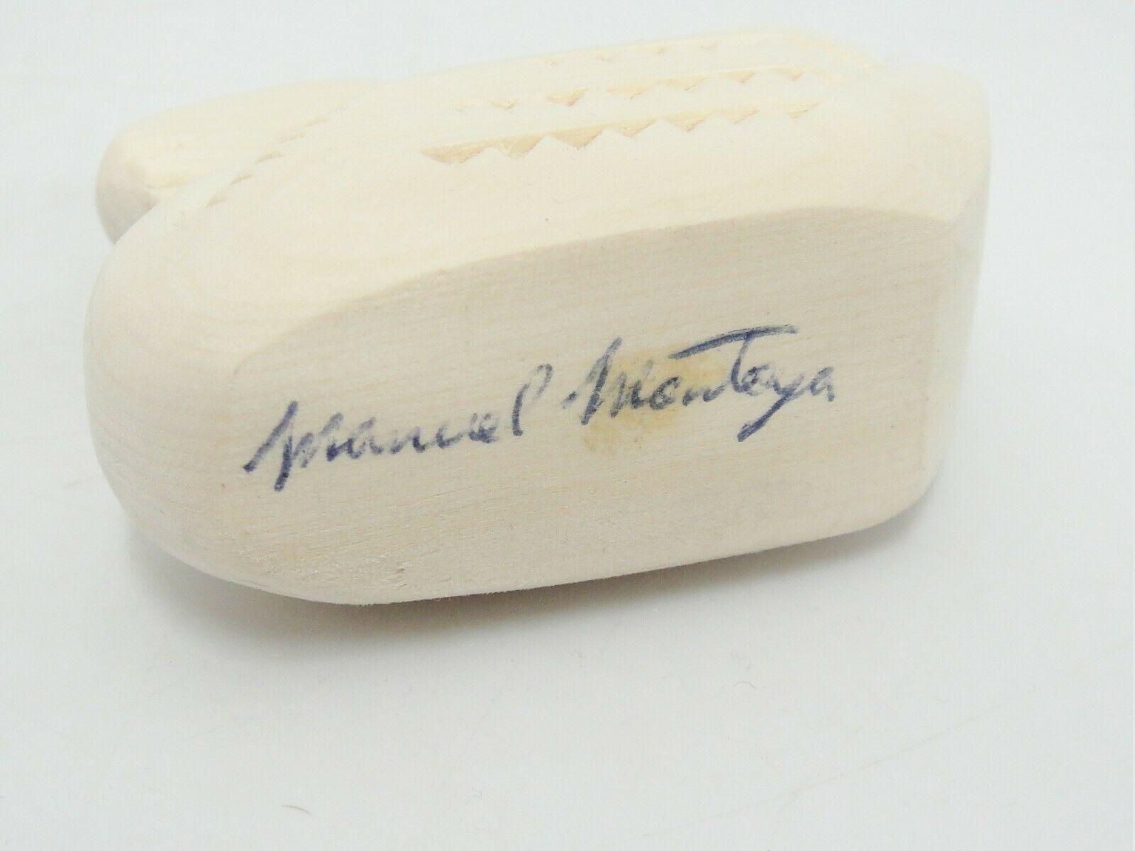 """Manuel Montoya Carved Swan Natural Wood 3"""" Long Signed Chip Carving image 4"""