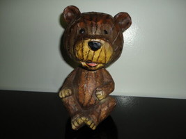 One of a Kind Bear Bobble Head Heavy Solid Wood Statue Hand Carved 7 inc... - $86.85