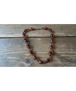 """Vintage Faux Amber Acorn Necklace 17"""" - $34.65"""