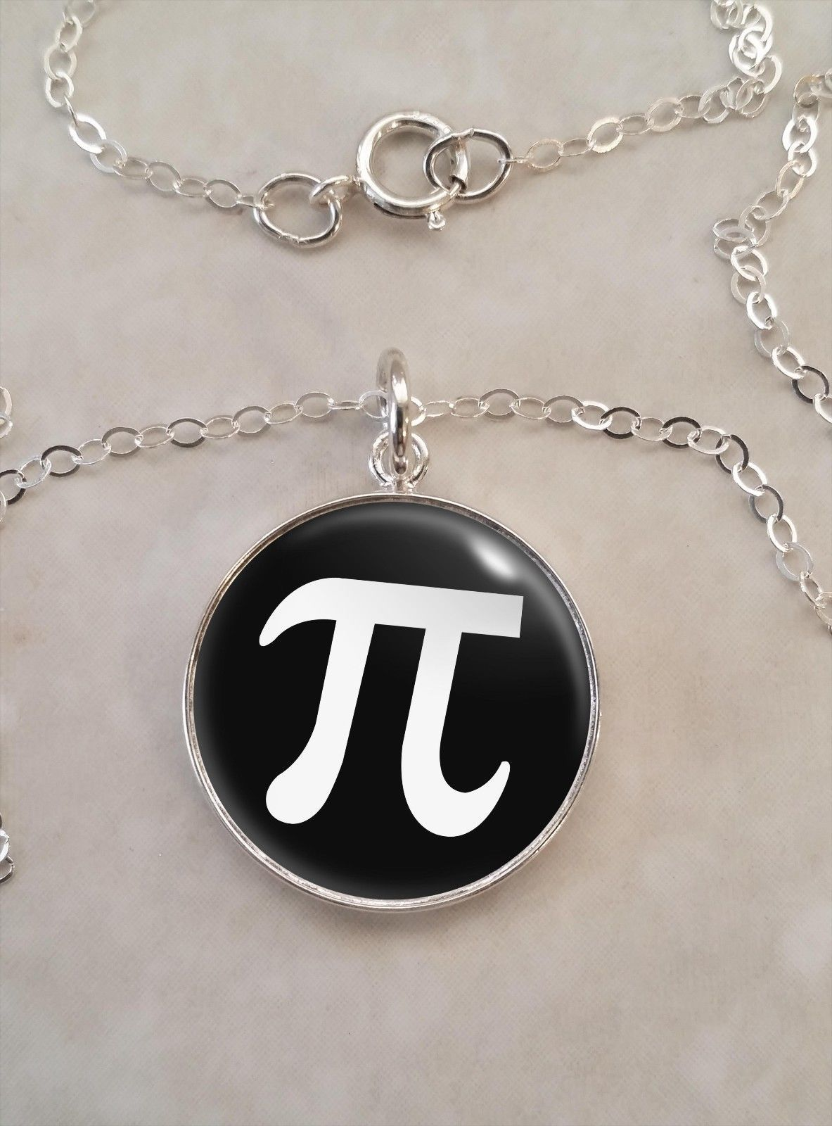 Primary image for Sterling Silver 925 Necklace Pi Symbol 3.14 π Mathematics Math Science