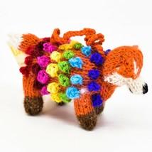 Handknit Alpaca Wool Whimsical Hanging Red Fox Ornament Handmade in Peru
