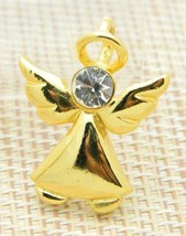 Clear Rhinestone Angel Necklace Pendant Gold Tone Vintage - $13.86