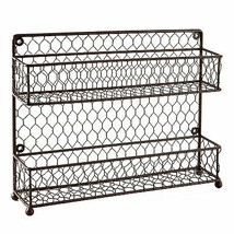 Rustic Brown 2l Tier Wire Wall Mounted Spice Rack Jars Storage Organizer... - $43.71