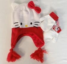 Hello Kitty by Sanrio White Knit Laplander Hat & Mittens Set Toddler Siz... - $20.78