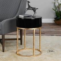 DESIGNER ANTIQUED GOLD LEAF METAL ROUND ACCENT END TABLE BLACK GLASS TOP  - $323.80