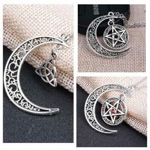 Pentagram Supernatural Amulet Necklace, Celtic Knot, Crescent Moon - $3.99