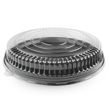 Clear PET Low Dome Lid for 18 Inch Round Trays/Case of 25 - $85.92
