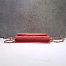 NEW AUTH CHANEL LIMITED Coral Pink Chevron WOC Wallet on Chain WOC Bag  image 5