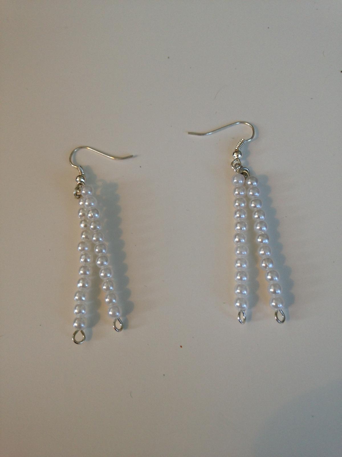 pearlized white beaded pierced earrings   - $18.99