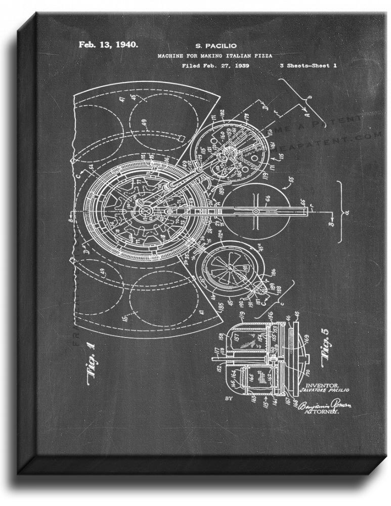 Primary image for Machine for Making Italian Pizza Patent Print Chalkboard on Canvas