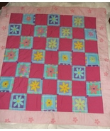 PINK  FLORAL QUILT new fleece cotton handcrafted 44 x 47 throw toddler  - $35.00