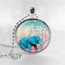 ELEPHANT Pendant Necklace, Elephant Art, Elephant Jewelry, Blue Elephant... - $11.95